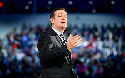 Sen. Ted Cruz, R-Texas speaks at Liberty University, founded by the late Rev. Jerry Falwell, March 23, 2015 in Lynchburg, Va., to announce his campaign for president. (photo credit: AP/Andrew Harnik)