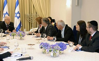 Members of the Yesh Atid party meet with President Reuven Rivlin at the president's residence in Jerusalem on Monday, March 23, 2015 (photo credit: Mark Nyman/GPO)