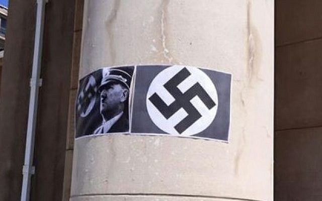 Images of Hitler and swastikas which were posted on pillars at the University of Cape Town, South Africa, Match 18, 2015 (photo credit: Saujs Cape Town, courtesy)