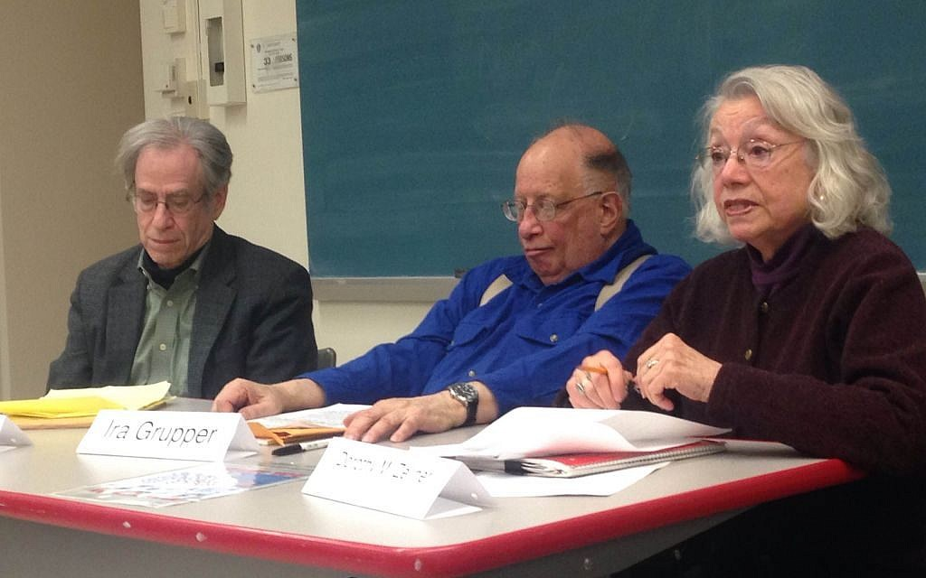 Freedom Summer speakers, from left to right, Larry Rubin, Ira Grupper and Dorothy Zellner at the February University of Massachusetts, Amherst event. (Courtesy Open Hillel)