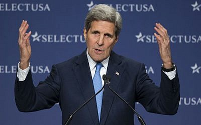 Secretary of State John Kerry gestures while speaking at the SelectUSA Investment Summit, hosted by the Commerce Department, Tuesday, March 24, 2015, in National Harbor, Md. (photo credit: AP Photo/Cliff Owen)