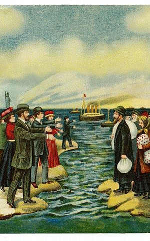 Offset color lithograph postcard shows Jewish Americans welcoming Jews immigrating from Russia to America. (From the Library of Congress Prints and Photographs, circa 1900-1920)