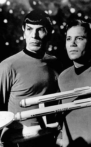 Leonard Nimoy, left, as Spock on 'Star Trek,' alongside co-star William Shatner. (Pixabay/JTA)