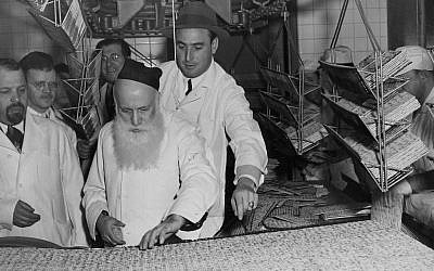 Baking Passover matza at the Streit's factory on Manhattan's Lower East Side in the early 20th century. (Courtesy of Streit's Matzos/JTA)