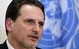 Pierre Krahenbuhl, director of the UN agency that supports Palestinians, during an interview in Beirut, Lebanon, March 12, 2015. (AP Photo/Bilal Hussein)