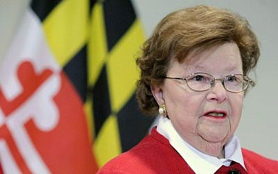 Sen. Barbara Mikulski, D-Md., the longest-serving woman in the history of Congress, speaks during a news conference which was held to announce her retirement after her current term, in the Fells Point section of Baltimore, Monday, March 2, 2015. (AP Photo/Steve Ruark)