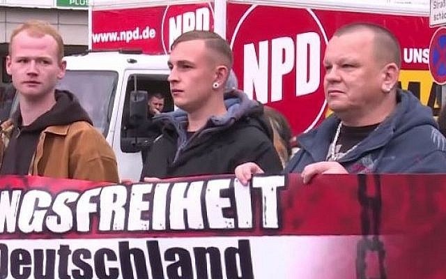 A demonstration by the German National Democratic Party. (screen capture: YouTube/RuptlyTV)