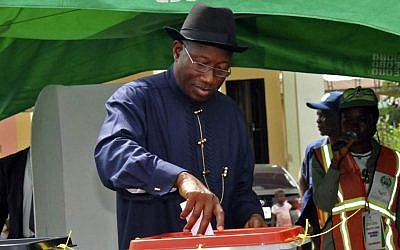 Nigerian President Goodluck Jonathan casts his ballot, in Otuoke, Nigeria, Saturday, March 28, 2015. (photo credit: AP/Nigeria State House)