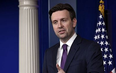 White House press secretary Josh Earnest speaks during the daily briefing at the White House, Tuesday, March 31, 2015. (AP Photo/Susan Walsh)