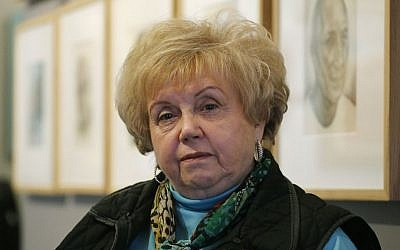 Holocaust survivor and author Paula Burger, 80, at the Mizel Museum of Jewish heritage, in Denver, March 3, 2015 (photo credit: AP/Brennan Linsley)