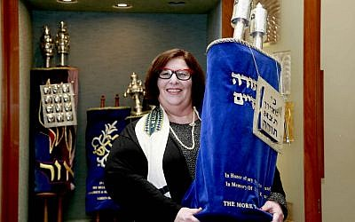 In this March 12, 2015 photo, Rabbi Denise Eger poses at Congregation Kol Ami, a Reform synagogue with gay and lesbian outreach programs, in West Hollywood, Calif. (photo credit: AP Photo/Nick Ut)