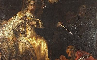 Illustrative: Haman Begging the Mercy of Esther, by Rembrandt.