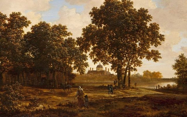 The painting 'Haagse Bos with view over Huis Ten Bosch Palace' by 17th century Dutch artist Joris van der Haagen.