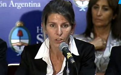 Ex-wife of Argentine investigator Alberto Nisman, Sandra Arroyo Salgado (photo credit: YouTube screen capture)