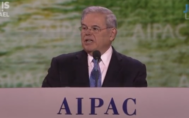 Robert Menendez speaks to AIPAC on March 2 (AIPAC screenshot)