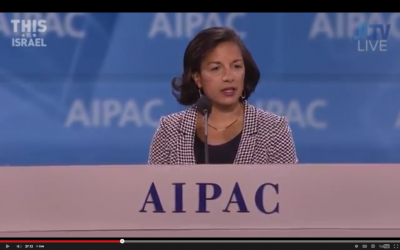 US National Security Adviser Susan Rice addresses the AIPAC conference, March 2, 2015 (screen capture: AIPAC)