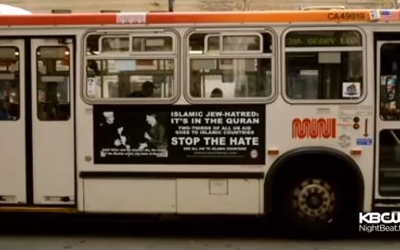 San Francisco bus with an ad featuring Adolf Hitler (right) and 1941 Arab leader Hajj Amin al-Husseini, which reads 'Islamic Jew Hatred: It's in the Quran.' (screen capture: KBCW/YouTube)