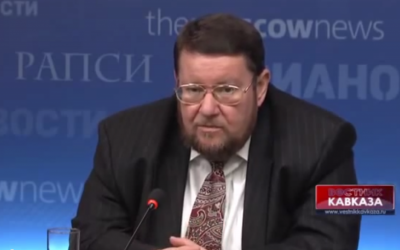 Former Russian Jewish Congress head Yevgeny Satanovsky (screen capture: Vestnik Kavkaza/YouTube)