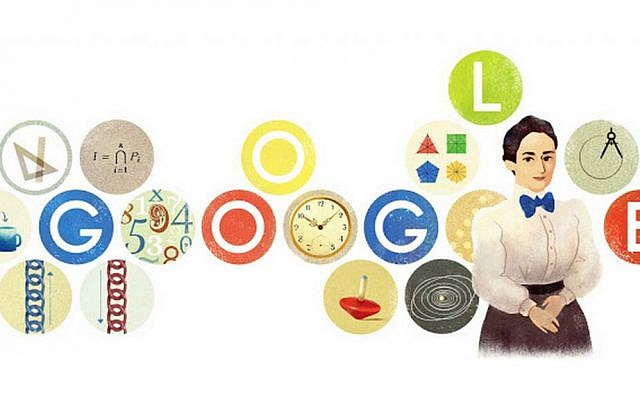 Google doodle celebrating Jewish mathematician Emmy Noether's 133rd birthday on March 23, 2015. (screenshot)