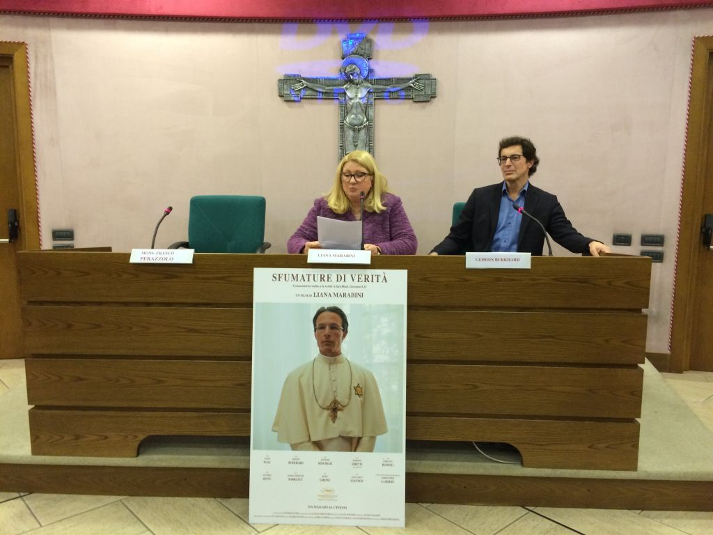 'Shades of Truth' director Liana Marabini, center, at the premiere screening in Vatican City, March 2, 2015. (courtesy)