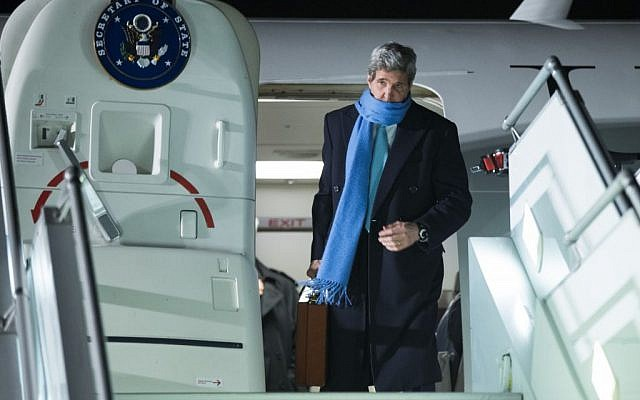 US Secretary of State John Kerry arrives at Geneva International airport, Sunday, March 1, 2015. (photo credit: AP/Evan Vucci, Pool)