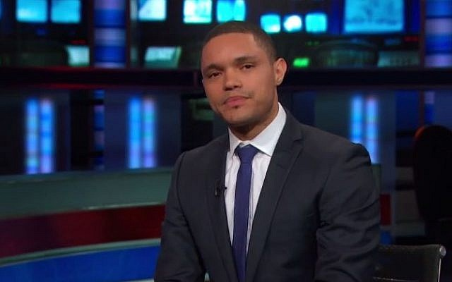 South African comedian Trevor Noah appearing on 'The Daily Show', December 2014. (screen capture: YouTube/Comedy Central)