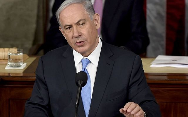 Prime Minister Benjamin Netanyahu speaks before a joint meeting of Congress on Capitol Hill in Washington, Tuesday, March 3, 2015. (photo credit: AP Photo/Susan Walsh)