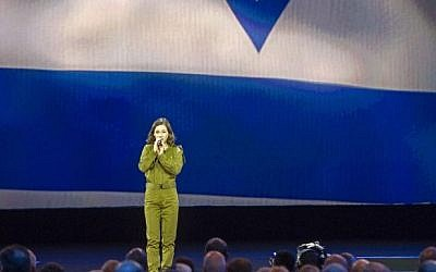 Tamar Ben-Ozer sings Hatikvah, the Israeli national anthem, to open the American Israel Public Affairs Committee (AIPAC) Policy Conference in Washington, Sunday, March 1, 2015. (photo credit: AP Photo/Cliff Owen)