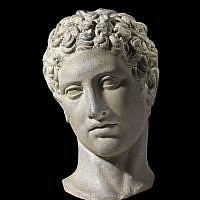 Marble head of a youth, after a Polycletus Greek original of the 5th century BCE Roman period, 1st century CE from the Belfer Collection (photo credit: © The Israel Museum Jerusalem, Elie Posner)