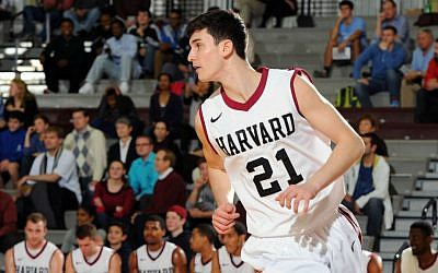 Zach Yoshor in action for Harvard against the University of Houston, Nov. 25, 2014. (Harvard Athletics/Gil Talbot/JTA)