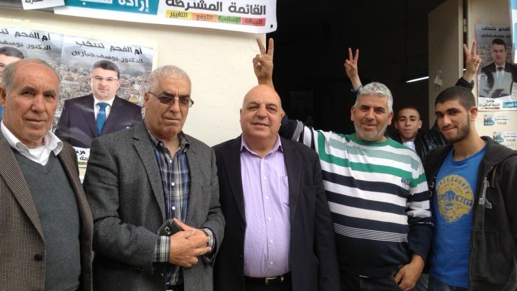 MK Afu Aghbariyah (hadash) visits the headquarters of the Joint (Arab) List in Umm al Fahm. (photo credit: Elhanan Miller)