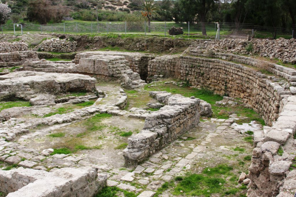 The Odeon at Ashkelon was shaped in a semi-circle and probably held either city council meetings or musical events – or both (photo credit: Shmuel Bar-Am)