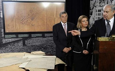 Hand drawn plans for the death camp in Auschwitz-Birkenau were handed over to Prime Minister Benjamin Netanyahu in Berlin on August 27, 2009, and used as a prop several weeks later in the prime minister's address to the UN General Assembly (photo credit: AP Photo/ Rainer Jensen, Pool)