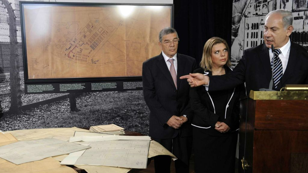 The hand-drawn plans for the death camp in Auschwitz-Birkenau were handed over to Prime Minister Benjamin Netanyahu in Berlin on August 27, 2009, and used as a prop several weeks later in the prime minister's address to the UN General Assembly. (photo credit: AP/ Rainer Jensen, Pool)