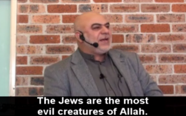Ismail Al-Wahwah calls coexistence with Israel 'a delusion,' in a speech on March 3, 2015. (Screen capture, MEMRI TV)