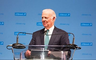 US former Secretary of State James Baker addresses the J Street conference in Washington, March 23, 2015. (Photo credit: J Street/JTA)