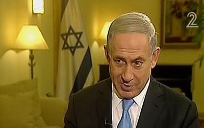 Benjamin Netanyahu speaking to Channel 2 on Thursday, March 12, 2015. (Screen capture: Channel 2)