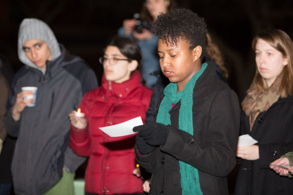 Brandeis University students participate in a March 30, 2015 vigil in solidarity with victims of anti-Semitism in Europe (photo credit: Elan Kawesch/ The Times of Israel)