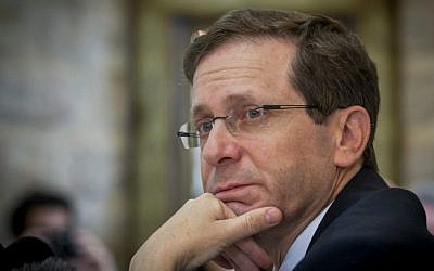Zionist Union leader Isaac Herzog at the Mount Zion Hotel in Jerusalem on February 24, 2015 (Miriam Alster/ Flash 90)