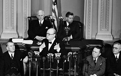 FILE - In this Dec. 26, 1941 file photo, British Prime Minister Winston Churchill addresses a joint session of the on Capitol Hill in Washington. (photo credit: AP Photo, File)