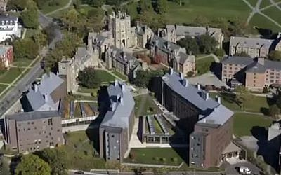 An aerial view of Cornell University in Ithaca, New York. (screen capture: YouTube/Cornell University)
