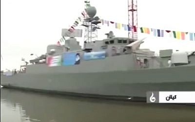 "The Iranian ""Damavand"" destroyer (photo credit: YouTube screenshot)"