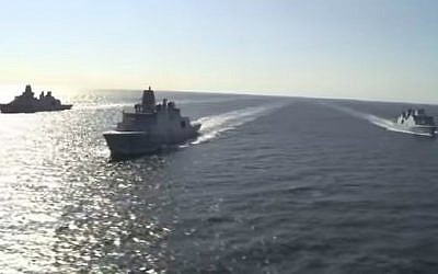 Illustrative photo of three Danish Royal Navy vessels (screen capture: YouTube)