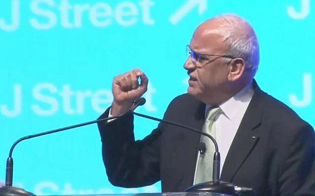 Palestinian negotiator Saeb Erekat speaking at the J Street Conference in Washington on March 23, 2015 (screen capture: YouTube)
