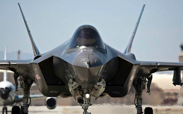 An F-35 on the tarmac on May 12, 2012 at Edwards Air Force Base in California (photo credit: AP Photo/ Lockheed Martin)