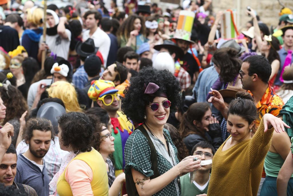 At the annual Purim street party in Jerusalem's Nachlaot neighborhood (photo credit: Nati Shochat/Flash 90)