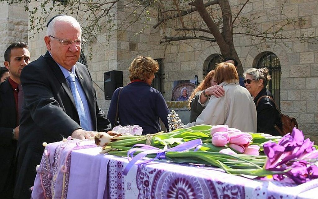 President Reuven Rivlin seen at a ceremony in memory of late movie pioneer Lia Van Leer, held at the Cinematheque in Jerusalem on march 16, 2015. (photo credit: Uri Lenz/FLASH90)