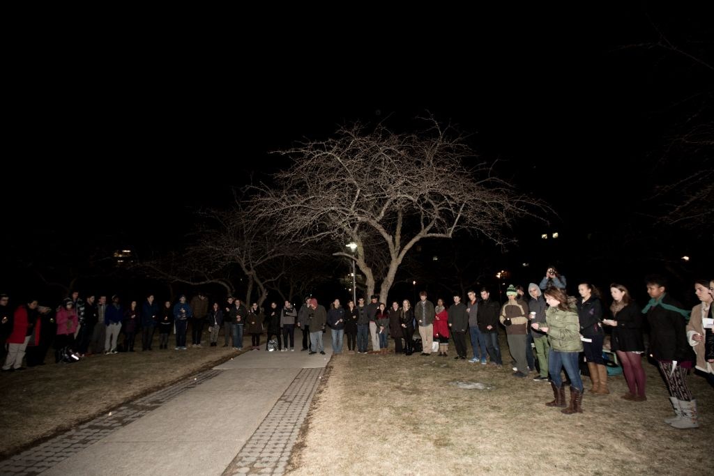 More than 100 students attended a vigil at Brandeis University to raise awareness about anti-Semitism in Europe, March 30, 2015 (photo credit: Elan Kawesch/The Time of Israel)