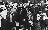 Illustrative image of Hungarian Jewish women and children from Carpatho-Ruthenia arrive at Auschwitz in May/June 1944. (photo credit: Bundesarchiv, Bild 183-N0827-318/CC BY-SA)