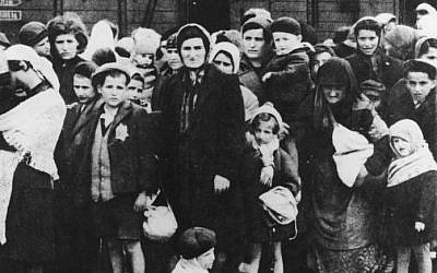 Hungarian Jewish women and children from Carpatho-Ruthenia arrive at Auschwitz in May/June 1944. (photo credit: Bundesarchiv, Bild 183-N0827-318/CC BY-SA)